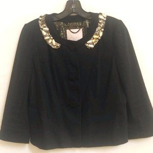 Rebecca Taylor Crop Linen Beaded Jacket 8